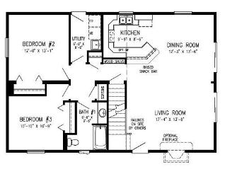 three bedroom diagram floor plan